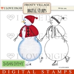 Frosty Village Snow Lady Digital Stamps