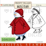 Frosty Village Snow Child Digital Stamp
