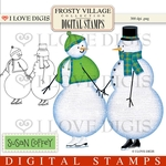 Frosty Village Snow Couple Digital Stamp
