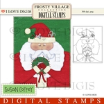 Frosty Village Santa Digital Stamp