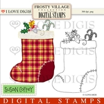 Frosty Village Mouse in Stocking Digital Stamp