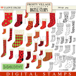 Frosty Village Stockings Digital Stamps
