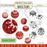Frosty Village Christmas Balls - Red Digital Stamps