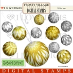 Frosty Village Christmas Balls - Gold Digital Stamps