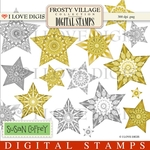 Frosty Village Stars - Gold Digital Stamps