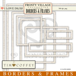 Frosty Village Scallop Cream Digital Borders & Frames