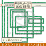 Frosty Village Scallop Green Digital Borders & Frames
