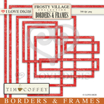 Frosty Village Scallop Red Digital Borders & Frames
