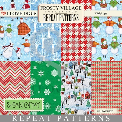 Frosty Village Repeat Patterns #1 - 8