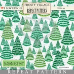 Frosty Village Repeat Pattern #18 Christmas Trees
