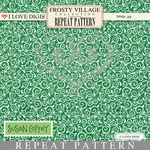 Frosty Village Repeat Pattern #20 Green Damask