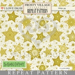 Frosty Village Repeat Pattern #21 Gold Stars