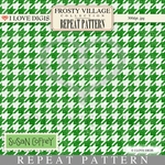 Frosty Village Repeat Pattern #22 Green Houndstooth