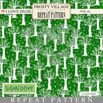 Frosty Village Repeat Pattern #23 White Trees