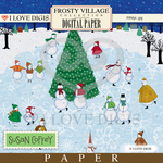 Frosty Village Skating Snowmen Digital Paper